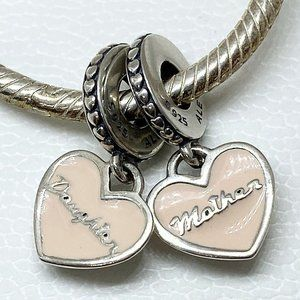 New Pandora Mother & Daughter Hearts Charm Pink